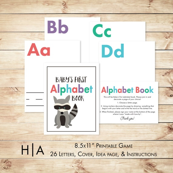 diy abc baby book instruction sign